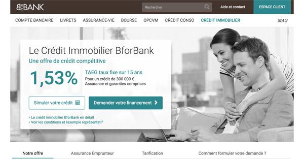 Le crédit immobilier à partir de 1,53% TAEG chez BforBank